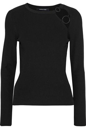 CUSHNIE ET OCHS Sienna ring-embellished cutout ribbed-knit sweater