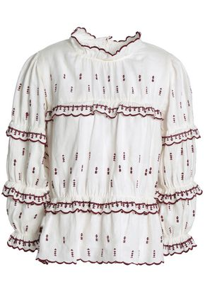 ISABEL MARANT ÉTOILE Ruffle-trimmed embroidered linen blouse