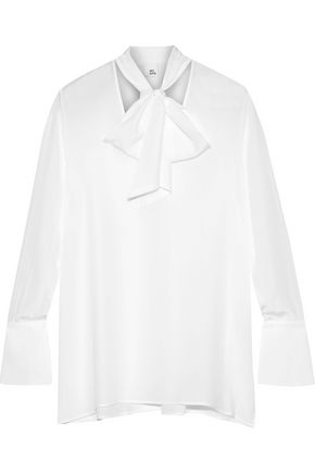 IRIS & INK Sheena pussy-bow silk crepe de chine blouse