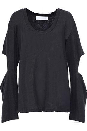 IRO Precho cutout distressed linen-jersey top