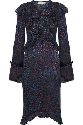 IRO Belloy ruffle-trimmed printed devoré-velvet dress