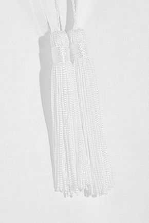 PLACE NATIONALE Grasse crochet-trimmed embroidered cotton-voile midi dress