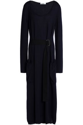 JIL SANDER Belted wool midi dress
