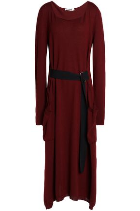 JIL SANDER Belted wool midi dress