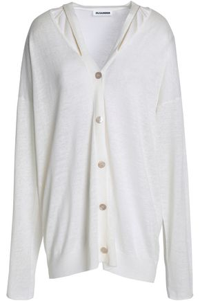 JIL SANDER Cutout linen, cashmere and silk-blend cardigan