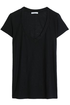 James Perse WOMAN COTTON AND MODAL-BLEND JERSEY T-SHIRT BLACK
