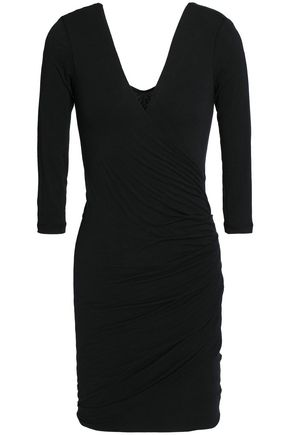 JAMES PERSE Ruched stretch-cotton jersey mini dress