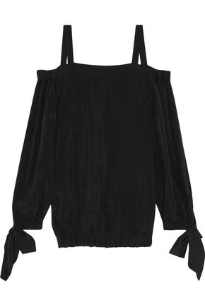 IRIS & INK Crystal cold-shoulder brushed crepe de chine top