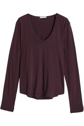 Cotton and wool-blend jersey top