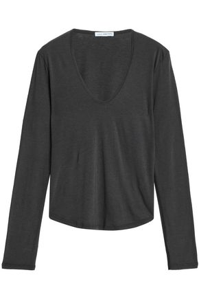 JAMES PERSE Cotton and wool-blend jersey top