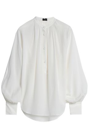 JOSEPH Gathered silk crepe de chine blouse