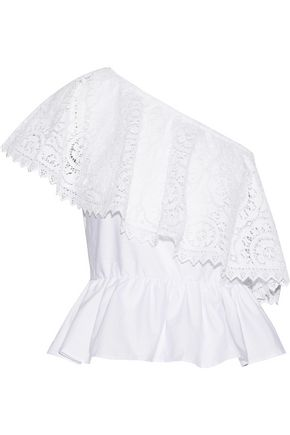 PLACE NATIONALE One-shoulder crochet-paneled cotton-poplin top