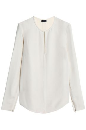 JOSEPH Cutout washed-silk blouse
