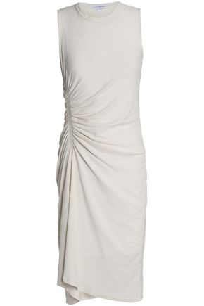 James Perse WOMAN RUCHED COTTON-JERSEY DRESS OFF-WHITE