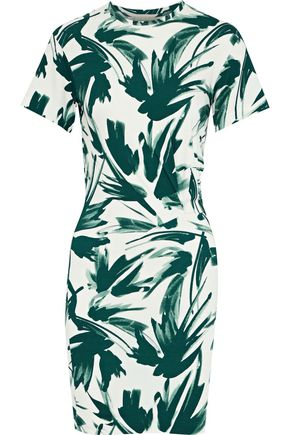 BY MALENE BIRGER Ofiniol gathered printed stretch-jersey mini dress