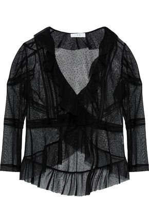IRO Pelly ruffled wrap-effect point d'esprit blouse