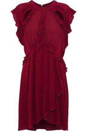 IRO Aya cutout ruffled crinkled-gauze mini dress