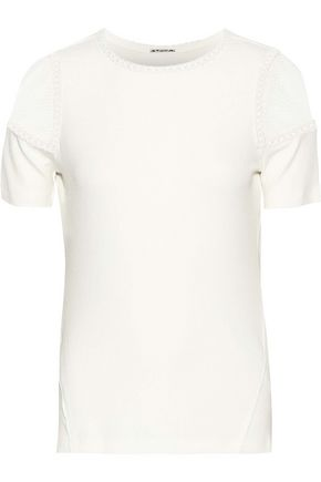 ELIE TAHARI Lace-paneled embroidered ribbed stretch-modal jersey T-shirt