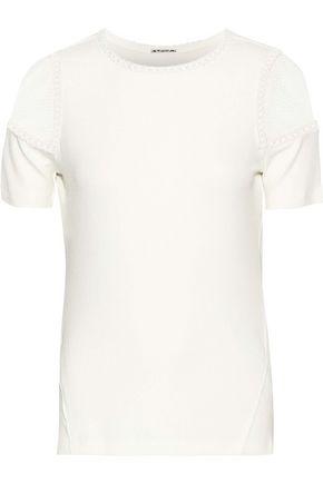 ELIE TAHARI Noshra lace-paneled embroidered ribbed modal-blend T-shirt