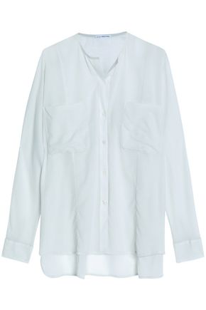JAMES PERSE Stretch-cotton and silk-blend voile shirt
