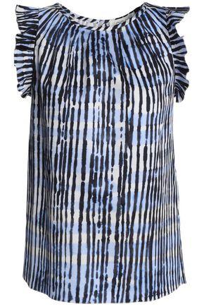GOAT Ruffle-trimmed tie-dye stretch-cotton poplin top