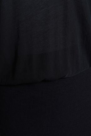 JAMES PERSE Gathered slub cotton-jersey and ribbed-knit mini dress