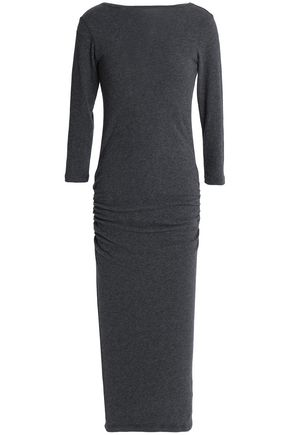 JAMES PERSE Ruched cotton-blend jersey midi dress