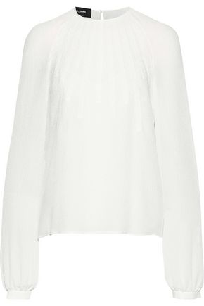 ROCHAS Lace-trimmed crinkled silk-gauze blouse