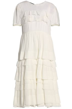 ROCHAS Tiered silk-crepe dress