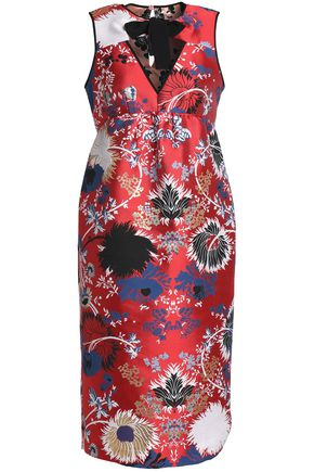 ROCHAS Cutout cotton-blend brocade dress