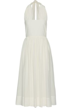 ROCHAS Gathered silk-georgette halterneck midi dress
