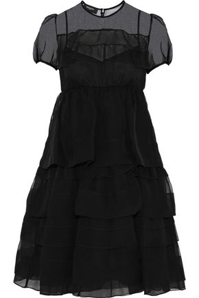 ROCHAS Tiered ruffled silk-organza dress