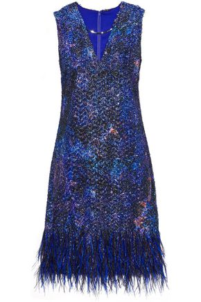 ELIE TAHARI Lyra feather-trimmed tinsel and organza mini dress