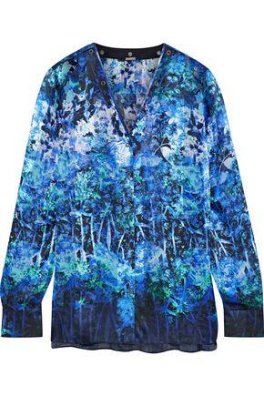 ELIE TAHARI Lydia leather-trimmed floral-print silk blouse