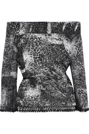 ELIE TAHARI Zoia off-the-shoulder printed silk crepe de chine and georgette top