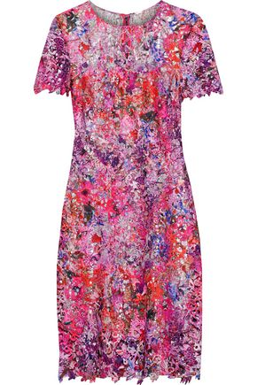 ELIE TAHARI Ophelia metallic printed guipure lace dress