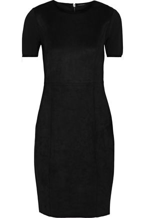 ELIE TAHARI Emily paneled faux suede and knitted mini dress