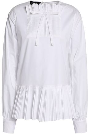 ROCHAS Bow-embellished pleated stretch-cotton poplin top