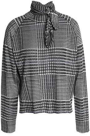 PAPER London Pussy-bow Prince of Wales checked jacquard-knit top
