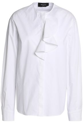 ROCHAS Draped stretch-cotton poplin shirt