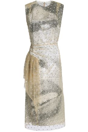 MAISON MARGIELA Draped layered glittered tulle and printed satin dress