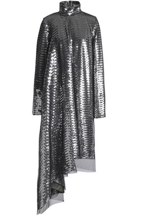 MAISON MARGIELA Asymmetric layered sequined tulle dress