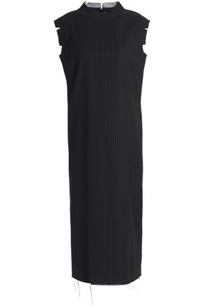 MAISON MARGIELA Frayed striped wool and cotton-blend midi dress
