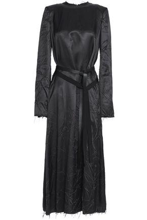 MAISON MARGIELA Leather and grosgrain-trimmed twill midi dress