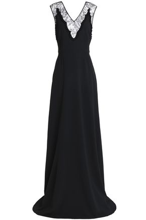 ROCHAS Lace-trimmed crepe gown