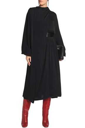 MAISON MARGIELA Patent leather-trimmed crepe midi dress