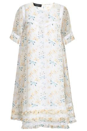 ROCHAS Lace-trimmed printed silk-organza dress