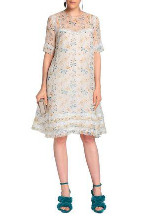 ROCHAS Lace-trimmed printed silk-organza dress