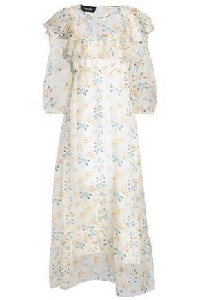 ROCHAS Ruffle-trimmed printed silk-organza gown