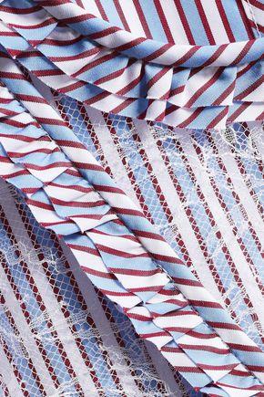 ROCHAS Lace-paneled striped cotton-poplin dress